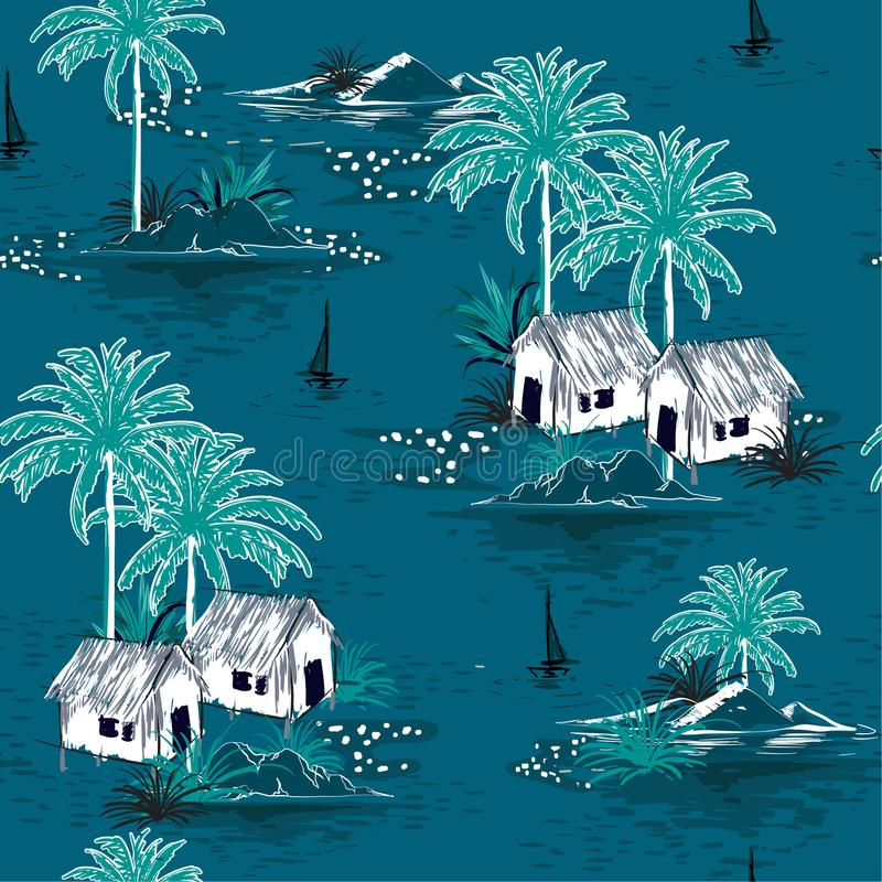 Summer stylish seamless Dark ocean island pattern on blue background. Landscape with palm trees,beach stock illustration