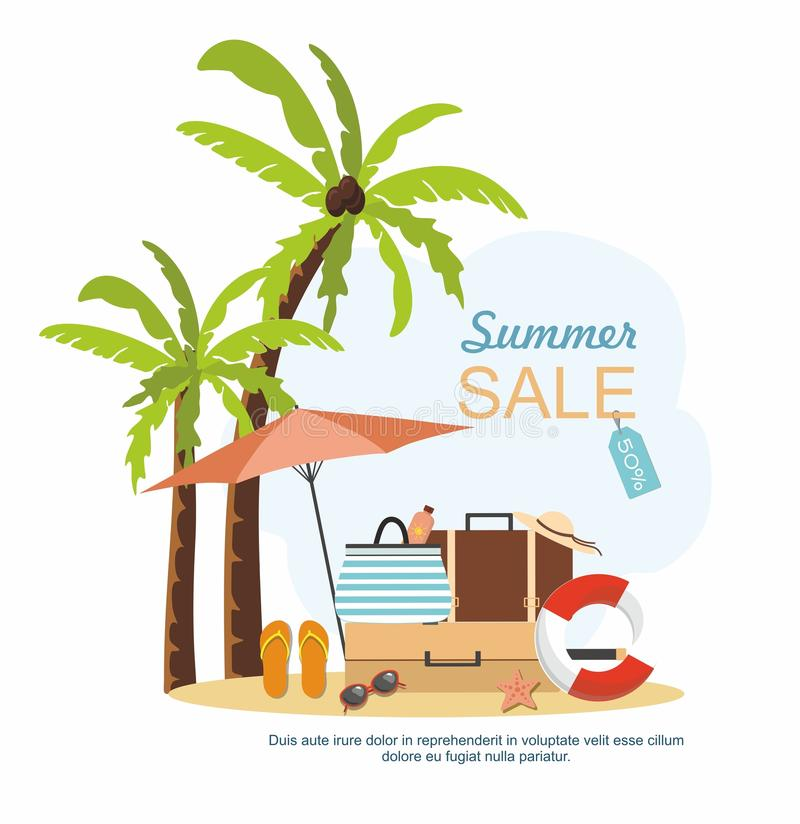 Summer suitcase, Beach Accessories and palm tree on beach. Summer sale Vector illustration royalty free illustration