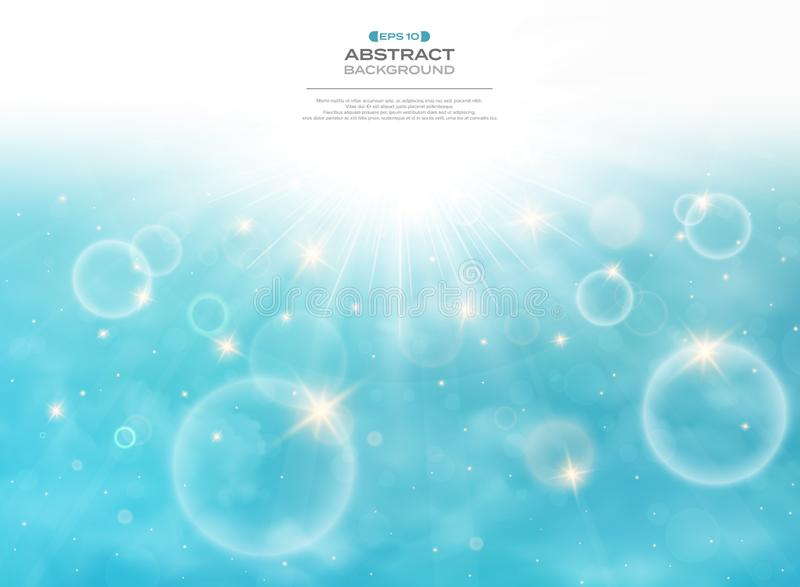 Summer of sun burst on soft light with blue sky background. Presenting with space of texting. Illustration vector eps10 vector illustration