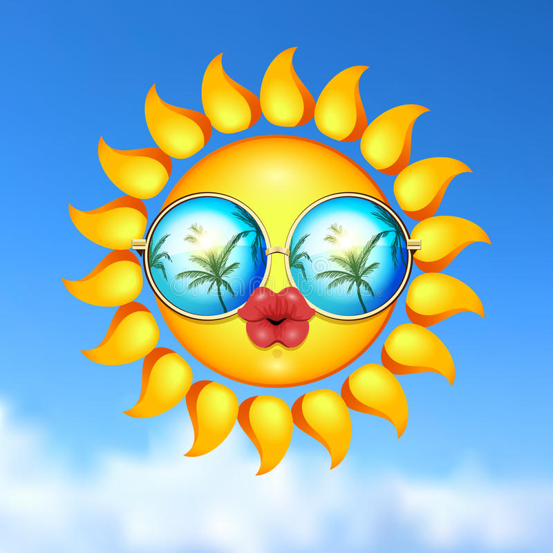 Summer Sun Face with sunglasses and full lips. vector illustration