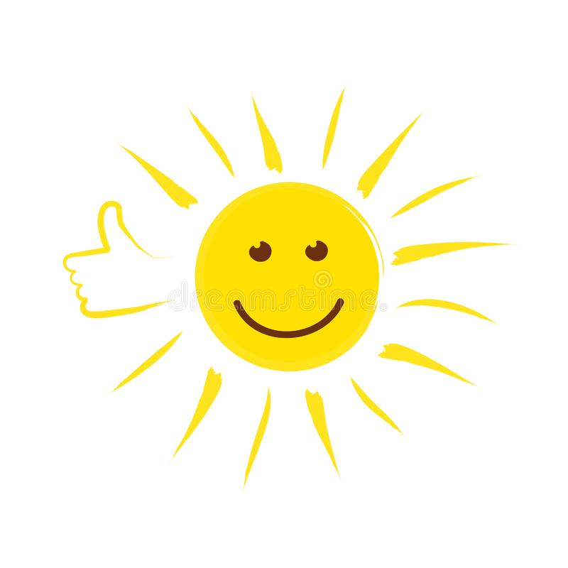 Summer sun face with thumb up and happy smile vector illustration