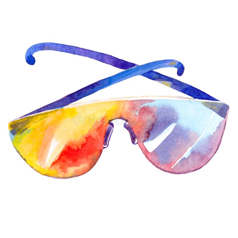 Summer sun protection glasses. watercolor illustration stock images