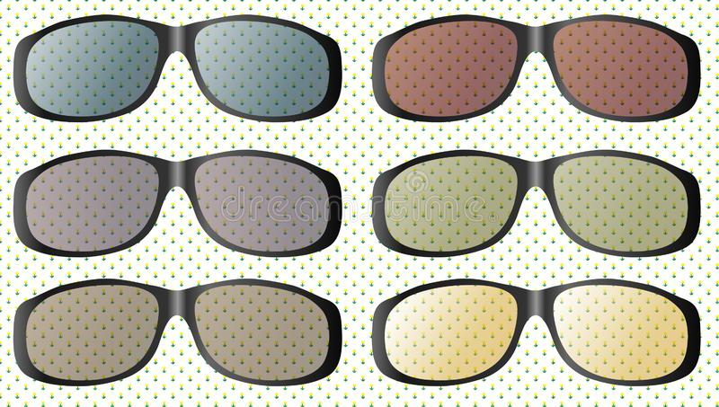 Summer sun protection transparent colorful sunglasses realistic icons set isolated vector illustration. vector illustration