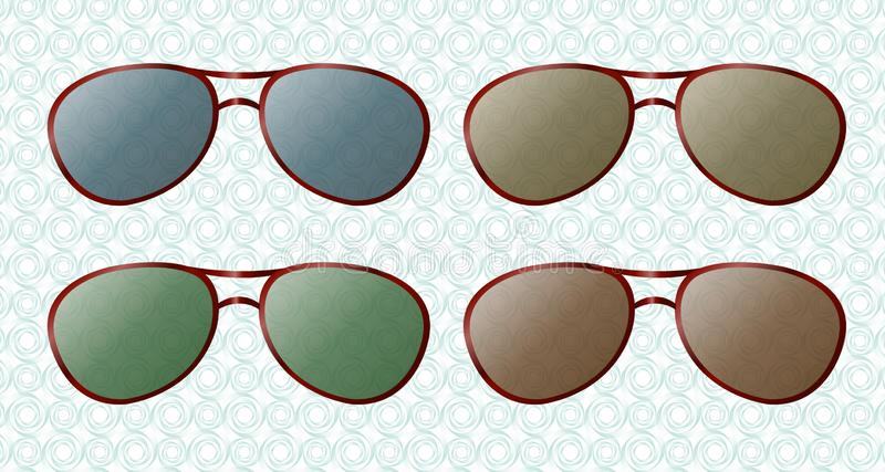 Summer sun protection transparent colorful sunglasses realistic icons set isolated vector illustration. stock illustration