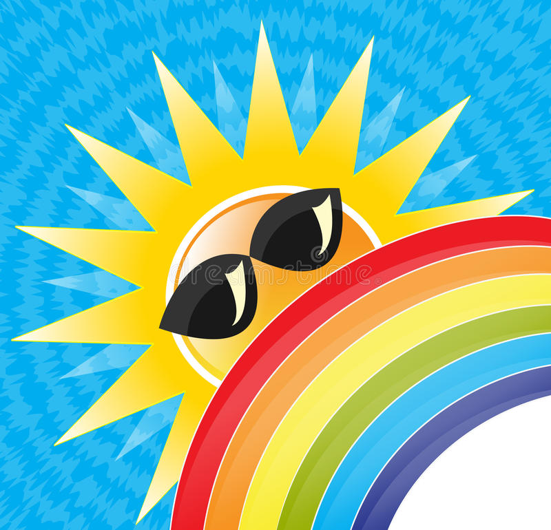 Summer sun & rainbow stock illustration