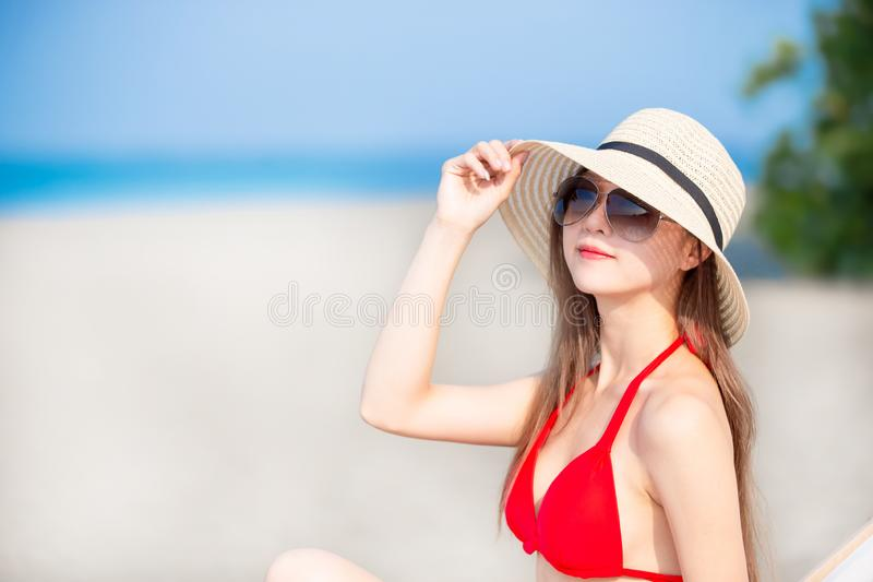 Summer sunblock concept stock photo