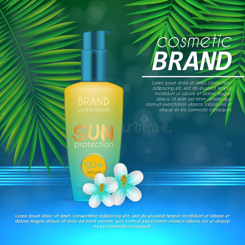 Summer sunblock cosmetic design template on abstract blue background with exotic palm leaves. Realistic sun protection and sunscre. En product ads vector illustration