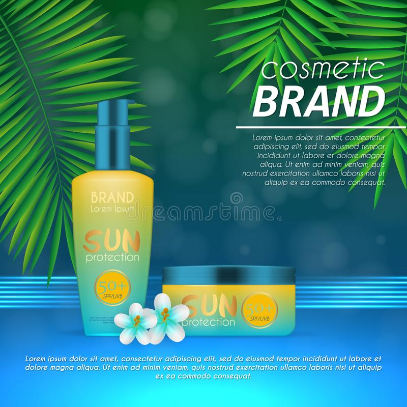 Summer sunblock cosmetic design template on abstract blue background with exotic palm leaves. Realistic sun protection and sunscre. En product ads royalty free illustration