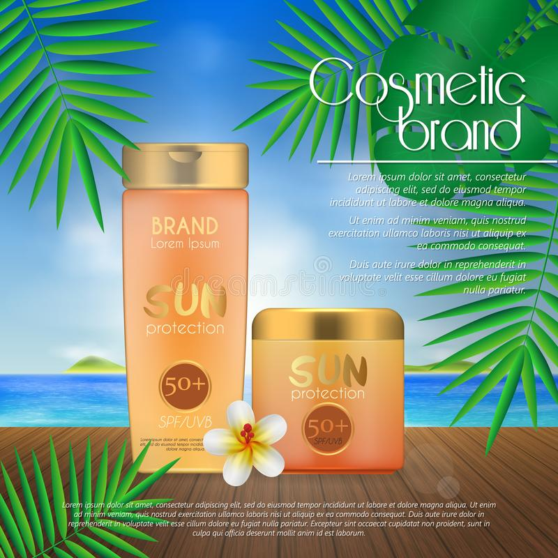 Summer sunblock cosmetic design template on beach background with exotic palm leaves. 3D realistic sun protection and sunscreen pr. Oduct ads royalty free illustration