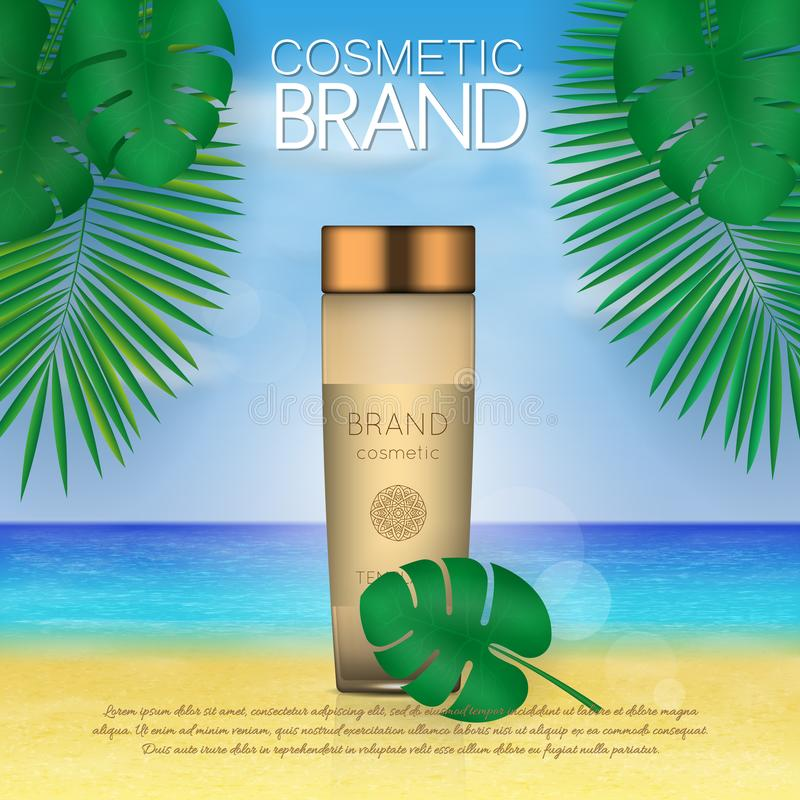 Summer sunblock cosmetic design template on beach background with exotic palm leaves. 3D realistic sun protection and sunscreen pr. Oduct ads vector illustration