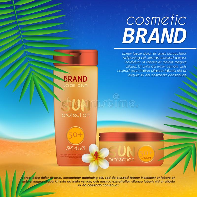 Summer sunblock cosmetic design template on beach background with exotic palm leaves. Realistic sun protection and sunscreen produ. Ct ads stock illustration