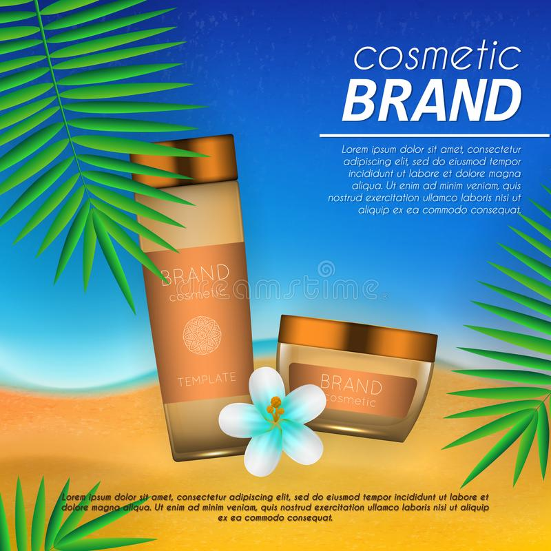 Summer sunblock cosmetic design template on beach background with exotic palm leaves. Realistic sun protection and sunscreen produ. Ct ads royalty free illustration