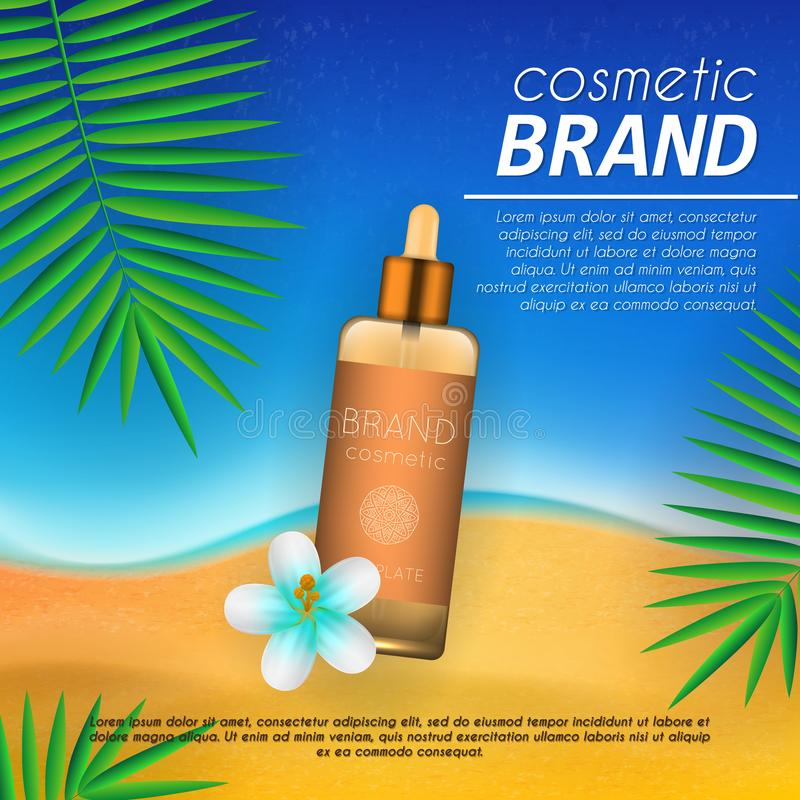 Summer sunblock cosmetic design template on beach background with exotic palm leaves. Realistic sun protection and sunscreen produ. Ct ads vector illustration