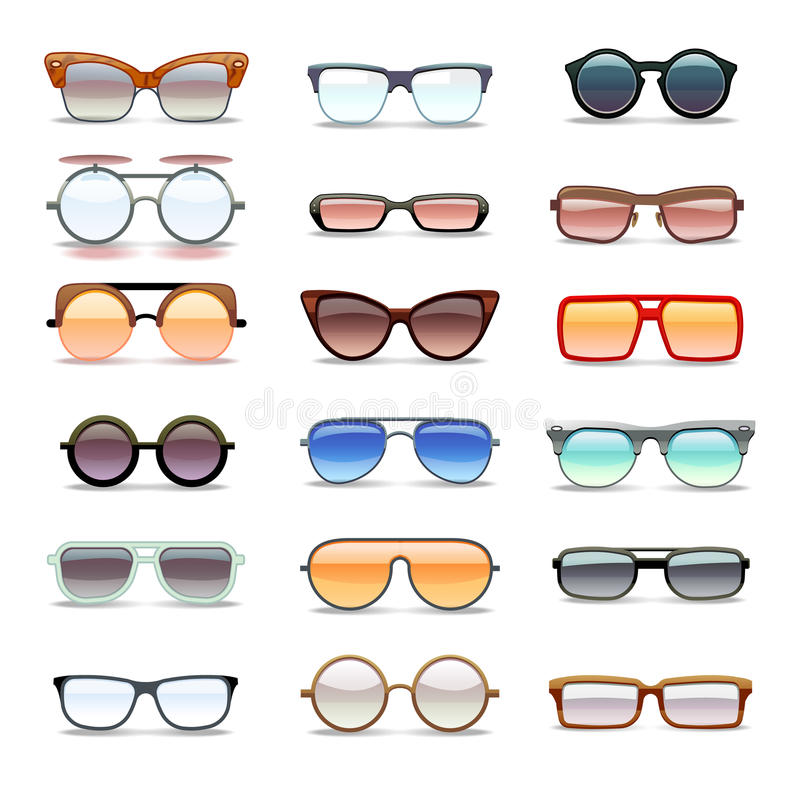 Summer sunglasses, fashion eyeglasses flat vector icons vector illustration