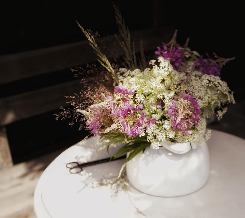 bouquet flowers white table outdoors summer village royalty free stock images