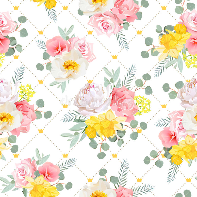 Free Summer Sunny Floral Seamless Vector Pattern. Peony, Wild Rose, Narcissus, Carnation, Pink And Yellow Flowers. Stock Photography - 74048362