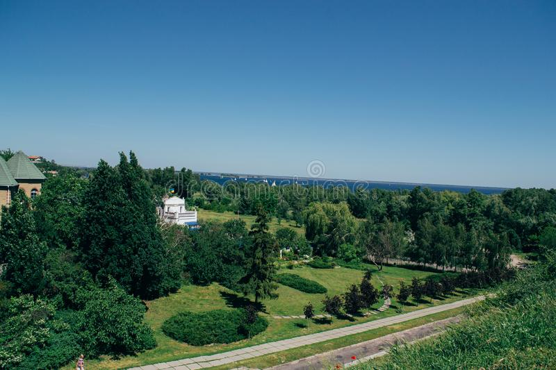 Summer sunny landscape from the air. Park and river view.  royalty free stock image