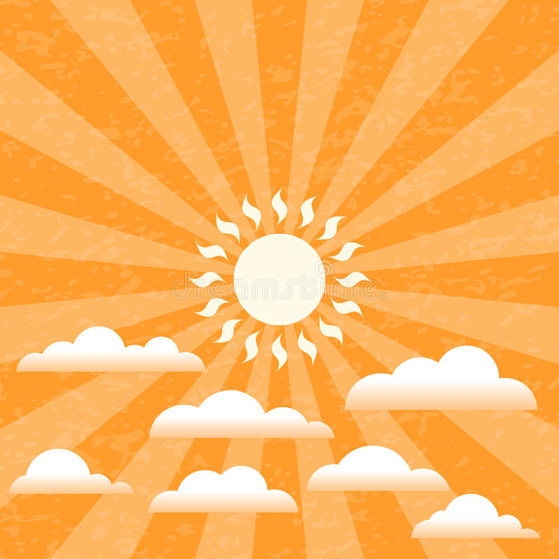 Summer Sunny Sky. Against a grunge patterned background. EPS10 with layer transparency stock illustration
