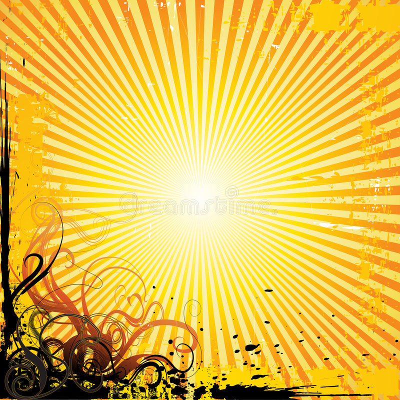 Summer sunray vector. Vector background illustration with sun-ray effect and grunge floral elements royalty free illustration