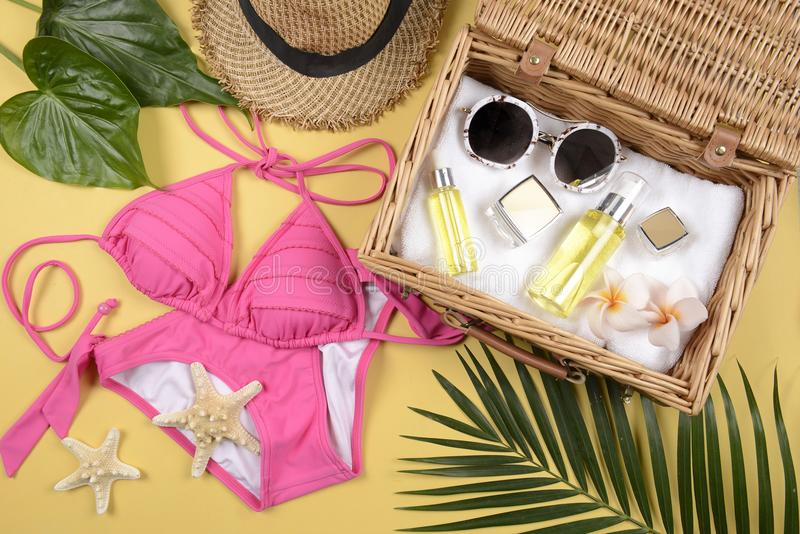 Summer and sunscreen, Beauty cosmetics product for skin care and women accessories on the beachSun protection product concept. Summer and sunscreen, Beauty stock images