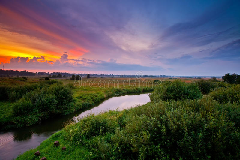 Summer sunset royalty free stock photo