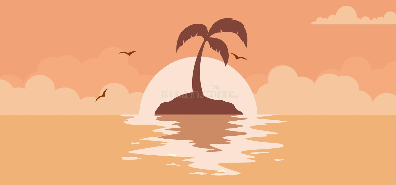 Beautiful summer sunset background with sun on the beach. Summer sunset background with sun on the beach vector stock illustration