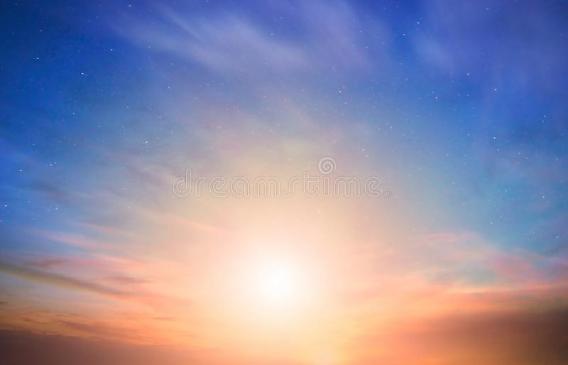 Summer sunset on  beach seashell on sand  Pink  blue cloudy sea   light reflection  on wave water blue sky  nature background. Summer sunset on  beach seashell royalty free stock images