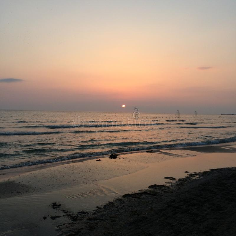 Summer. Sunset Black Sea wave royalty free stock photography