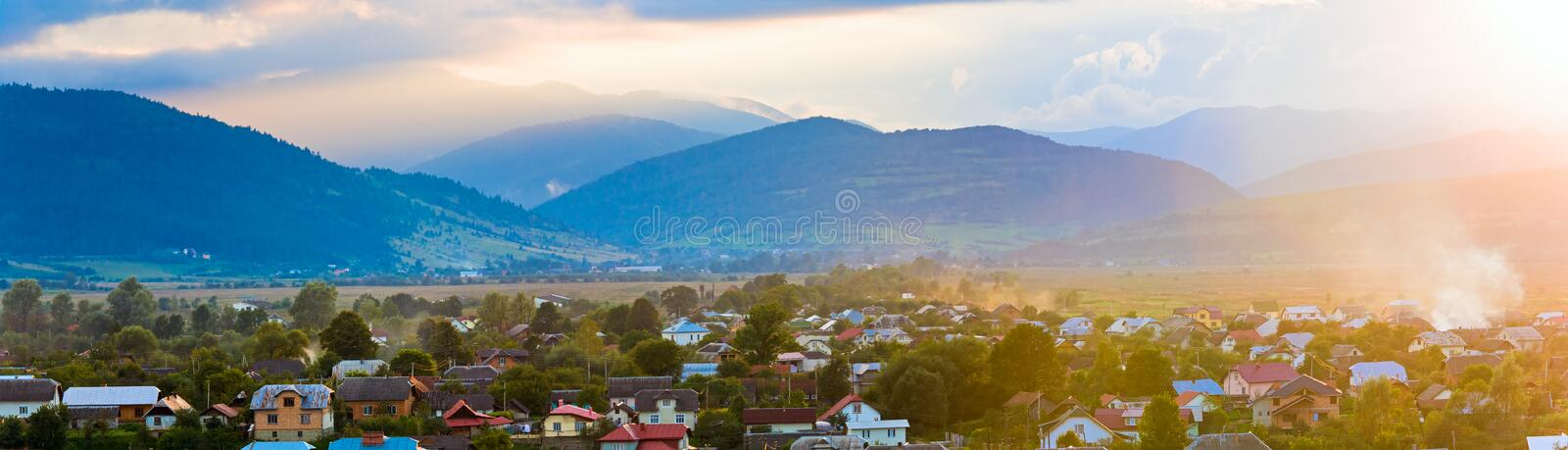 Download Summer Sunset Country Panorama. Stock Image - Image: 16361991