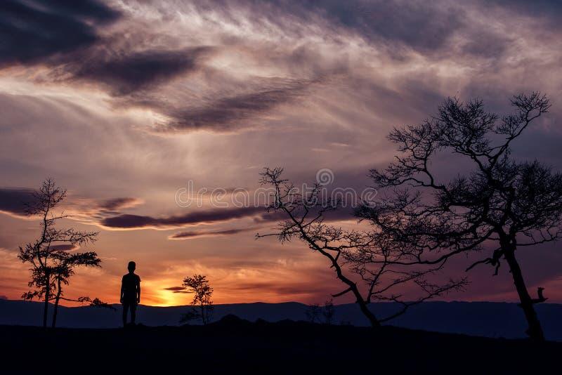 Summer sunset on lake Baikal royalty free stock image