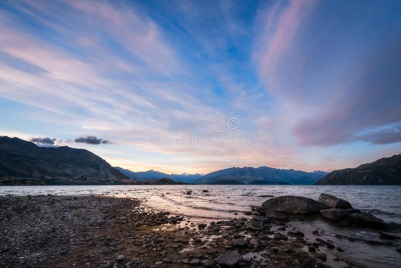 Download Summer Sunset At Lake Wanaka Stock Photo - Image of adventure, range: 108885962