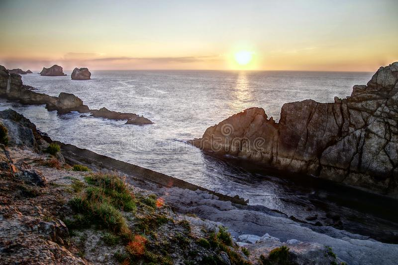 Summer sunset landscape of the Cantabrian Coast in Santander. Cantabria is a beatiful region on the Bay of Biscay, Atlantic Ocean, in northern Spain with two royalty free stock photography