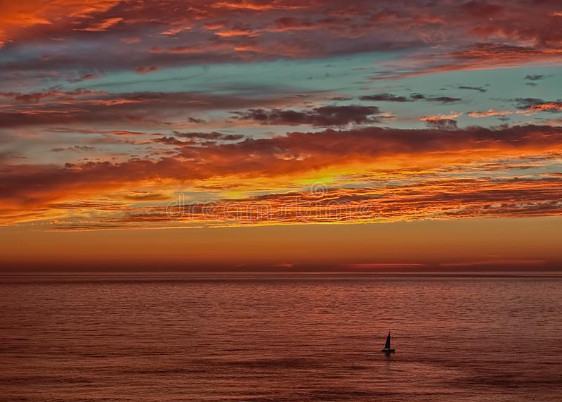 Summer sunset San Francisco Ocean Beach `The Great Highway` royalty free stock photos