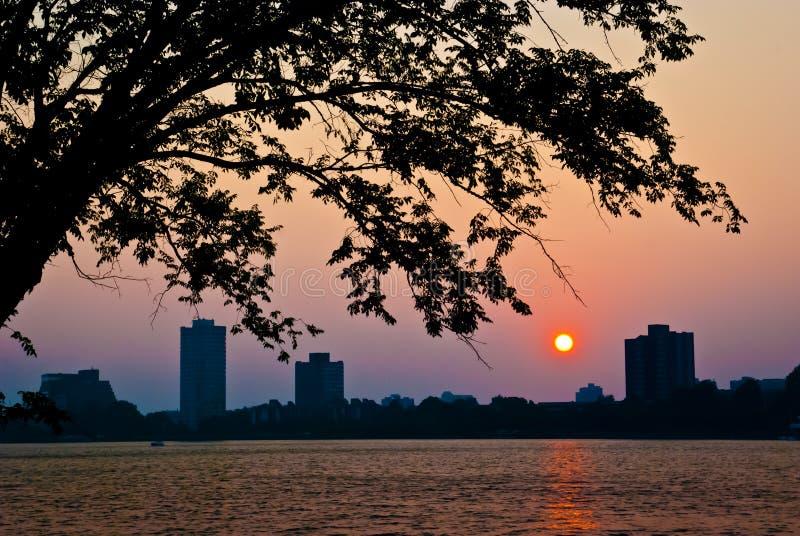 Summer Sunset over Cambridge stock photo
