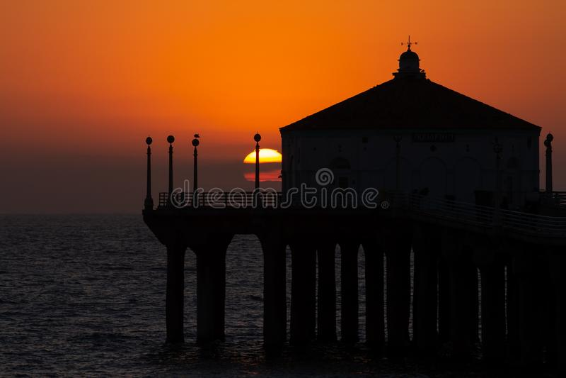 Summer sunset over Manhattan Beach pier in California stock photos