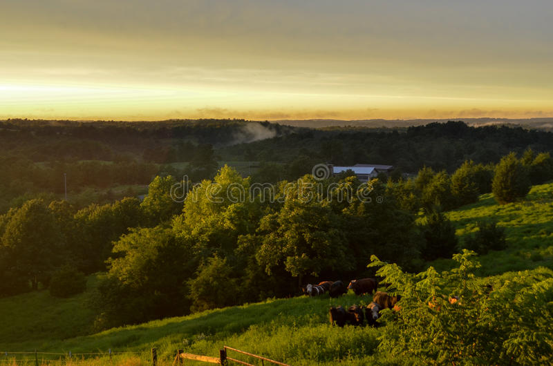 A summer sunset over the Ozarks stock photography