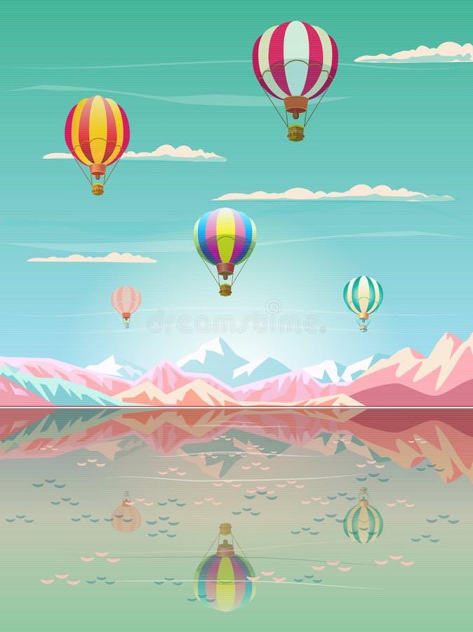 Rocky Mountain sea beach hot air balloons alps lake vector illustration