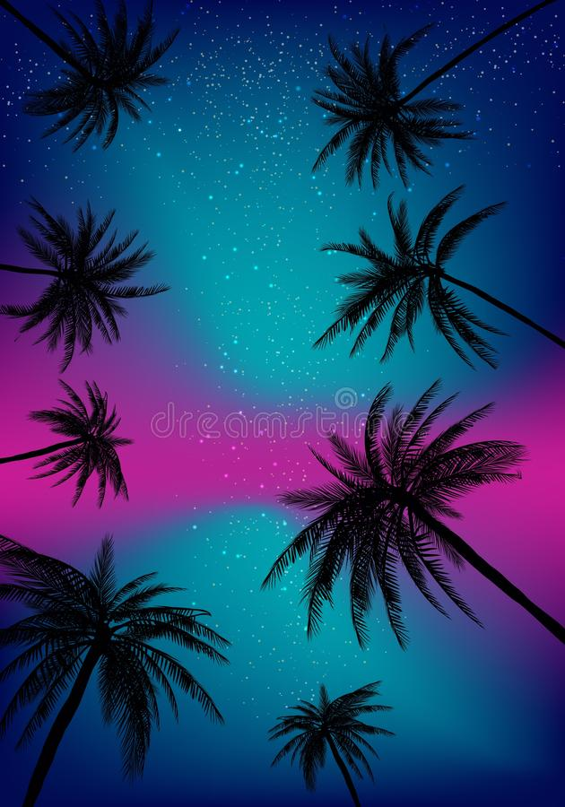 Summer sunset palm trees. Beatiful tropical, exotic wit clouds in sky.Vector illustration. EPS 10 vector illustration
