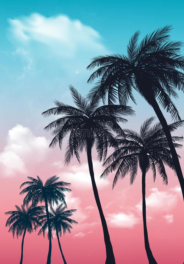 Summer sunset palm trees. Beatiful tropical, exotic wit clouds in sky.Vector illustration. EPS 10 royalty free illustration