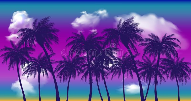 Summer sunset palm trees. Beatiful tropical, exotic wit clouds in sky.Vector illustration. EPS 10 stock illustration