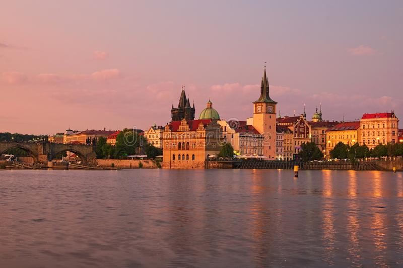 Summer sunset panorama of the Old Town and Vltava river in Prague. Czech Republic stock photo