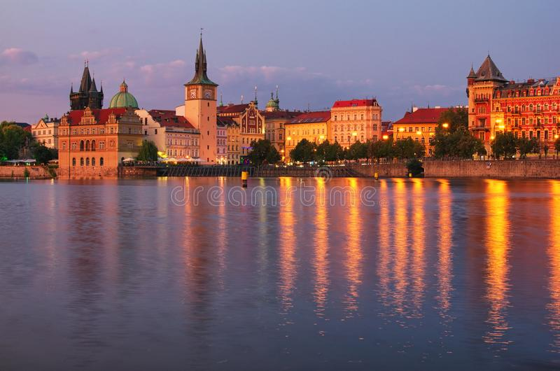 Summer sunset panorama of the Old Town and Vltava river in Prague. Czech Republic royalty free stock image