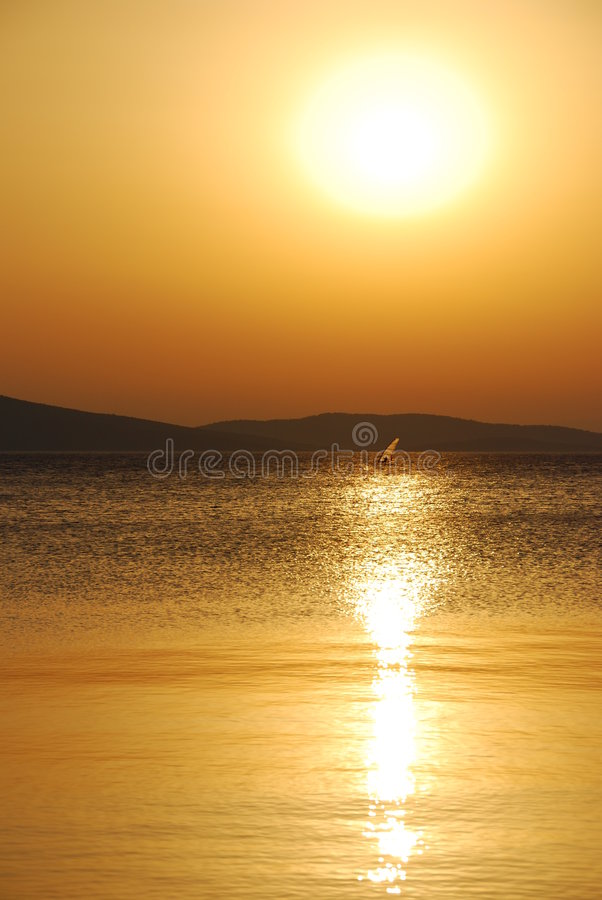 Summer Sunset Windsurfer Stock Images