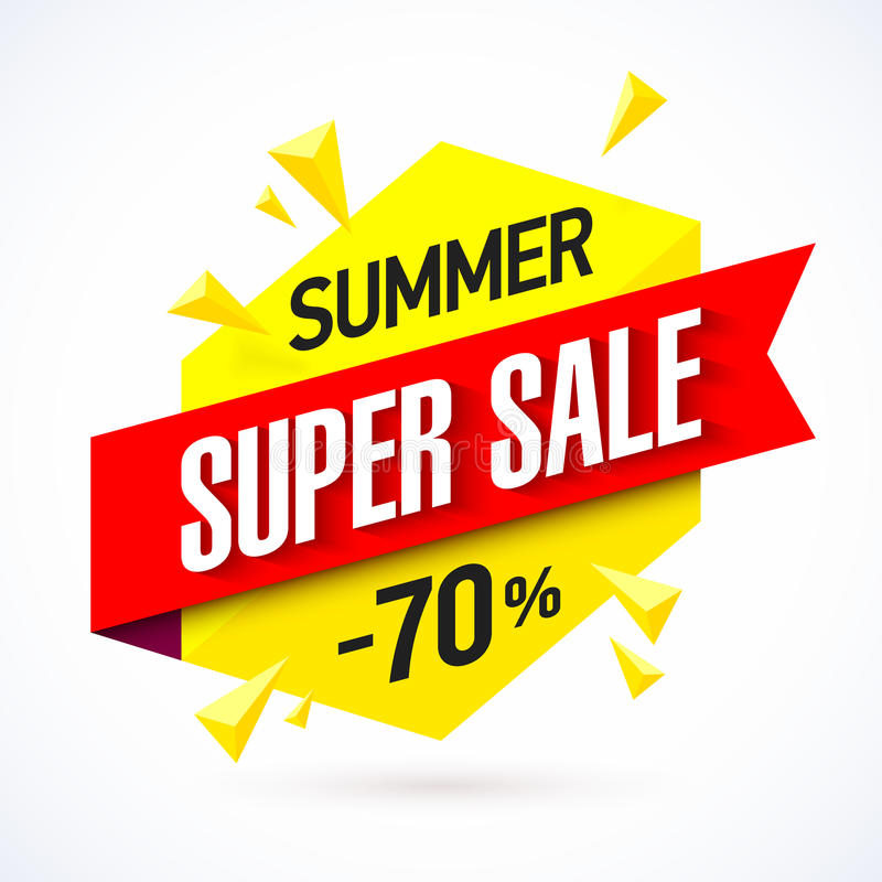 Summer super sale banner royalty free illustration