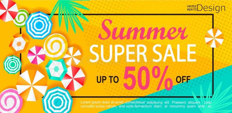 Summer super sale banner. stock illustration