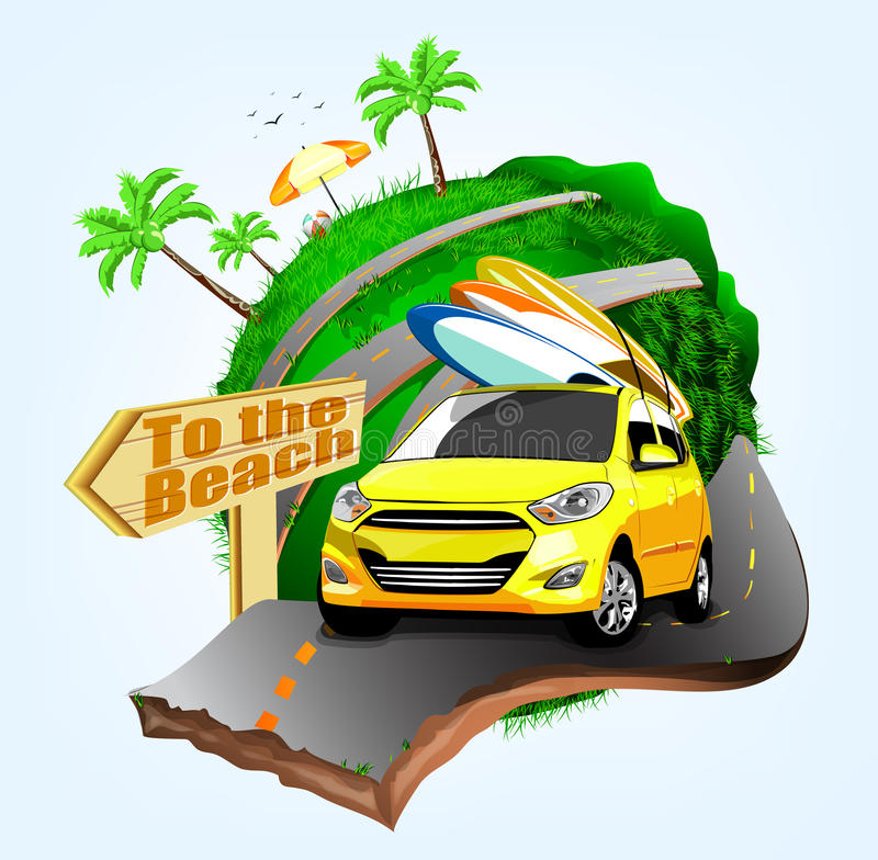Free Summer Surfing Adventures Poster Design With Yellow Car Stock Photography - 68504222