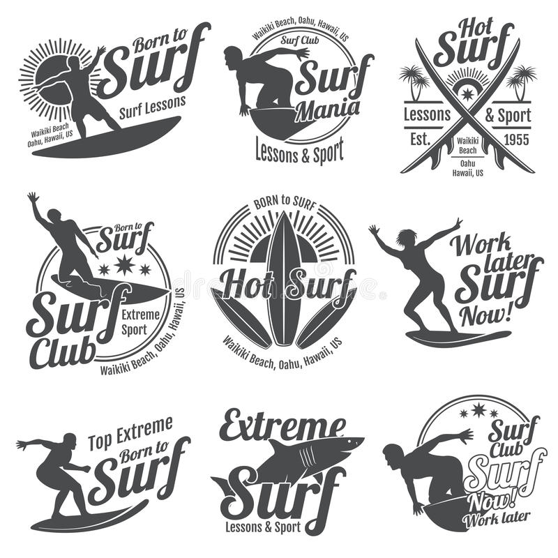 Summer surfing sports vector logos collection with surfer, surf board and ocean wave stock illustration