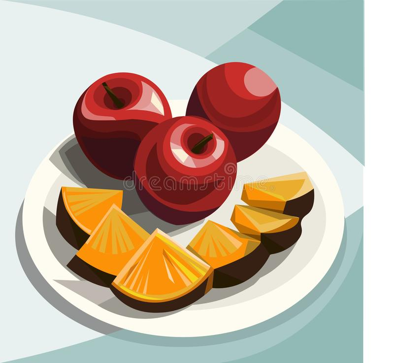 Summer sweet fruits on a white plate stock illustration
