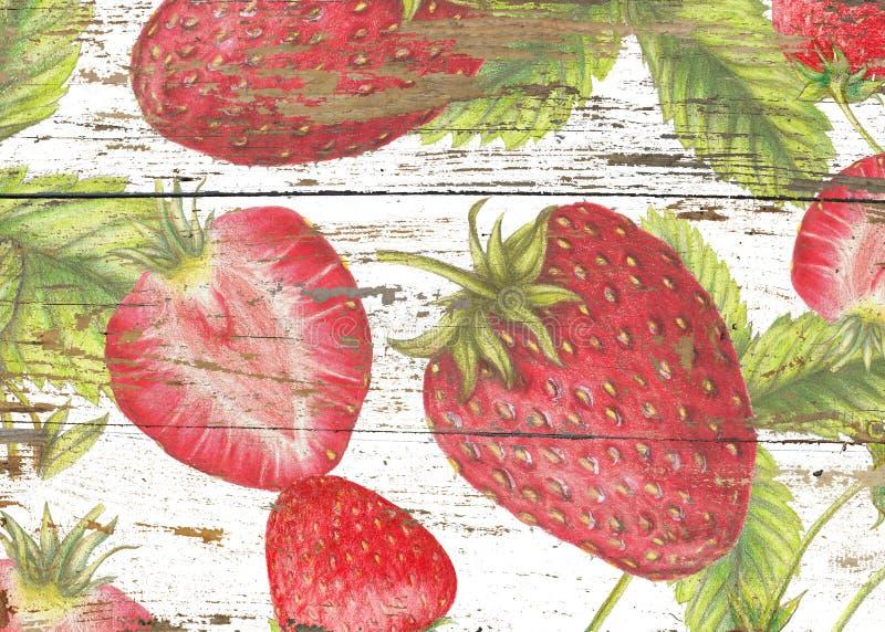 Summer sweet pattern of strawberries on wood texture. Strawberry pattern on wood texture stock photos