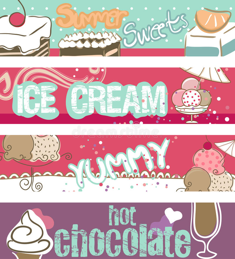 Summer Sweets Banners royalty free illustration